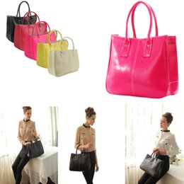 Wholesale Korean Fashion Yellow Satchel Bag - women leather tote handbag fashion summer candy color shoulder bags Messenge Bag For Women 7 Colors