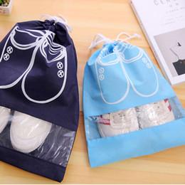 Wholesale Travel Shoe Organizer Bag - Wholesale- High Quality Non-Woven Laundry Shoe Bag 2 size Travel Pouch Storage Portable Tote Drawstring Storage Bag Organizer Cover