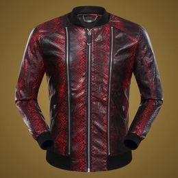 Wholesale Mens Pilot Jacket Fur - Wholesale- Fashion Design Tiger Embroidery Unisex Bomber Jacket 2018 Mens PU Leather Motorcycle Pilot Jackets TC190