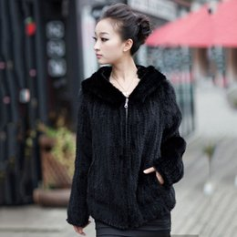 Wholesale Knitted Mink Coat Hood - Wholesale-new style women full sleeve genuine knit mink fur coat with hood for lady female jacket overcoat plus size bust 88cm-120cm