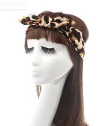Wholesale Zebra Headband Bow - Fashion Women Elastic Bunny Rabbit Ear Bow Wide Stretch Summer Beach Leopard zebra Headband Sport Yoga Headband Cotton Turban Bandana WHA68