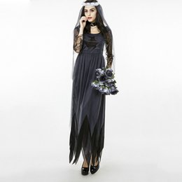 Wholesale Woman Ghost Costume - Halloween Cosplay Flower Fairy Vampire Ghost Bride Devil Clothes Female Theme Costume Pumpkin DS Performers Wear