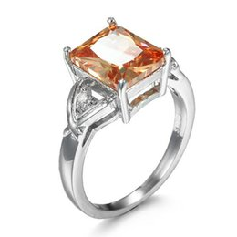 Wholesale Morganite Crystal - 5 Pieces 1 lot Lucky Shine Friend Gift Superb Square Morganite Crystal 925 Sterling Silver Rings Russia American Australia Wedding Rings