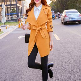 Wholesale trench coat femme - New Trend 2016Solid Color Open Stitch Casual Trench Coat For Women Turn-down Collar Long Style Full Sleeve Manteau Femme
