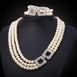 conjunto de joyas de perlas austriacas Rebajas Collar de múltiples capas Pulsera apilada Rhinestone cuadrado Encantos de lujo Lujo 3 Capas de conjunto de joyería de perlas para mujer