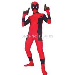 Wholesale Custom Deadpool - red and black deadpool costume Halloween Party Cosplay ZenTai suit
