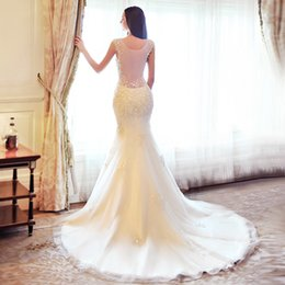 Wholesale Backless Silk Chiffon Wedding Dresses - Charming Sequins Mermaid 2015 Off Shoulder Beaded Lace Aqqlique Wedding Dresses White Court Train Bridal Gowns Organza Bridal paty Gowns
