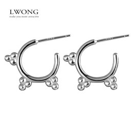Wholesale Piercing Cartilage - Wholesale- LWONG 925 Sterling Silver Dotted Small Hoop Earrings for Women Ear Piercing Helix Cartilage Earrings Boho Tiny Dot Earring Hoops