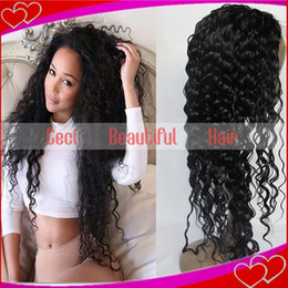 Wholesale Curl Long Lace Front - brazilian virgin hair full lace glueless wigs full front lace wig loose curl natural hairline remy human hair