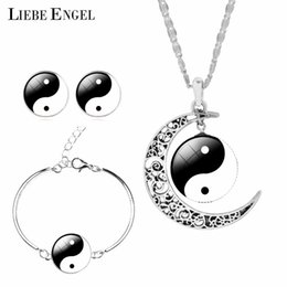 Wholesale Jade Earrings Bangle Set - LIEBE ENGEL Unique Tai Chi Jewelry Sets For Women Silver Color Earrings Bracelets & Bangles Vintage Statement Necklace Sets 2017