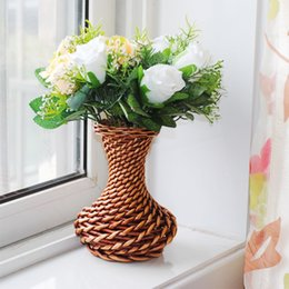 Wholesale Dining Table Flower Vases - Fashion brief dining table home accessories rattan small vase decoration liubian crafts flower