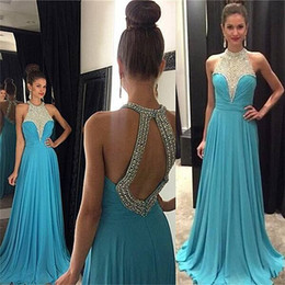 Wholesale Halter Top Chiffon Evening Gown - 2016 Spring Summer Prom Dresses Halter Jewel Neck Crystal Beads A Line Chiffon Bodice Top Open Back Evening Gowns Party Formal Dresses