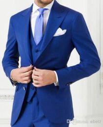 Wholesale Grooms Tuxedo Jacket Blue - Top Quality Free Shipping! 2016 Hot Fashion Blue Groom Tuxedos,Wedding Party Groomsman (Jacket+Pants+Tie+Vest)Bridegroom Suit