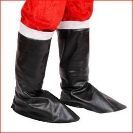 Wholesale Leather Santa Claus Boots - 1Pair Father Christmas Black Leather Boots Santa Claus Cosplay Shoes Decoration