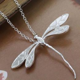 Wholesale Dragonfly Pendant 925 Silver Necklace - Wholesale-P076_2 Free Shipping 925 sterling silver Necklace, 925 silver fashion jewelry Long Dragonfly  argajina bioajzva