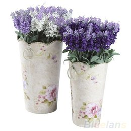 Wholesale Lavender Artificial Flower - 10 Heads Artificial Lavender Silk Flower Bouquet Wedding Home Party Decor for Display 04EE