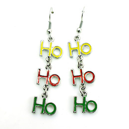 Wholesale Alphabet Letter Silver - Brand New Charms Earrings Silver Plated Dangle Three Color Letter HOHO Earrings For Women Jewelry Christmas Decoration