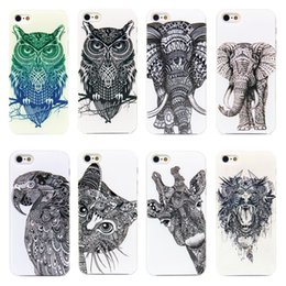 2019 iphone girafe girafe Gros-2015 Vtg Style Head Case Aztec Elephant Giraffe Dessinés à la main des animaux Revers Couverture pour i Phone iPhone 4 4s / 5 5s promotion iphone girafe girafe