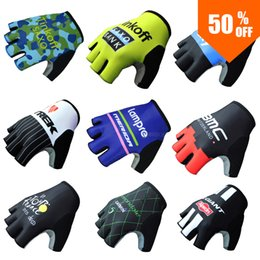 Wholesale Finger Pro - Wholesale-60% OFF Pro Team Bank Men Half Finger Cycling Sport MTB Ride Motocross Bike Bicycle Gloves Guantes Ciclismo Bicicletas Mittens