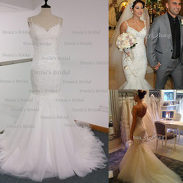 Wholesale tulle wedding dress spaghetti straps - Real Image Mermaid Wedding Dress Spaghetti Straps Backless with Lace Appliques Chapel Train Bridal Gowns Steven Dhyz 01