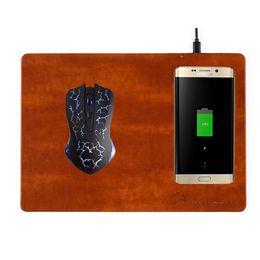 Qi pad de charge sans fil standard en Ligne-Tapis De Souris De Charge Sans Fil Qi Standard Pour IPhone X 8 Samsung S7 Bord Note 8 Cuir Matière Haute Qualité Nouvelle Arrivée