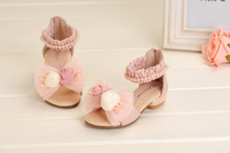 Wholesale Pink Rose Sandals Flower - Wholesale-Summer Girl's Sandals Retail 1 Pair Rose Flower Free Shipping Baby Girl Leather Princess Shoes Pink Beige