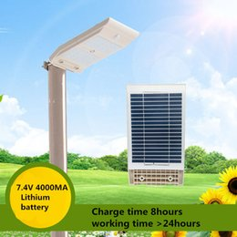 Wholesale Nickel Lithium - Wholesale- Bright 10W Solar street light 48leds human body sensor garden LED lights outdoor waterproof wall lamp 4000MA Lithium battery
