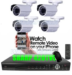 Wholesale Dvr Cctv Complete Security System - Free Shipping 4 CH CCTV 4 Channel Complete Indoor & Outdoor CCTV Security Camera DVR System