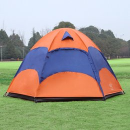 Wholesale Tent Rainproof - Wholesale- Best Deal Outdoor 5-8 Persons Large Tent Sunshade Double Layer Sun Shelter Rainproof Anti-UV Shed Camping Hiking Travel Tent