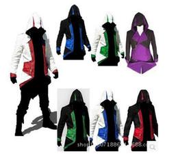 Wholesale Kenway Coat - Assassins Creed 3 III Conner Kenway Hoodie Coat Jacket Anime Cosplay Assassin'S Costume Cosplay Overcoat Free Shipping