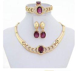 Wholesale Italian Gold Set - WesternRain 18K Gold Plated Italian Purple Jewelry Set For Christmas Gift Crystal Necklace Bracelet Ring Earrings