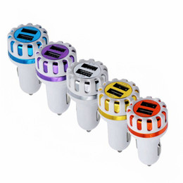 Wholesale ic power iphone - For Iphone 7 Car Charger Dual USB 2 Scokets 5V 2.1A IC protection micro USB charger Sunflower type Travel Power Adapter