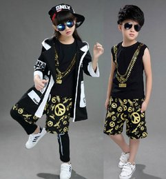 Wholesale Tank Tops For Girls Kids - 2017 Kids Hip Hop Costume Clothes For Boys Girls Children Tank Top Shorts Legging Pant Windbreaker Coat Jazz Dance Clothing Set