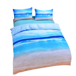 Wholesale Cheap Comforter Sets Queen - Wholesale-Dropshipping Beach And Ocean Home Textiles Hot 3D Print Comforters Cheap Vivid Bedding Set Twin Queen King Wholesale