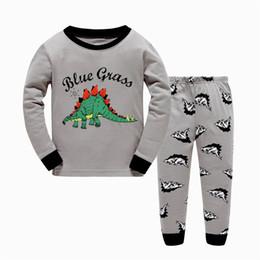 Wholesale Pyjamas Baby - Cool Pajamas for Baby boy Dinosaur Nightwear Pyjamas set 100%Cotton Sleepwear homewear 2017 Autumn Winter wholesale