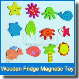 Wholesale Toy Refrigerator For Kids - Wooden Figures Refrigerator Magnetic Fridge Magne Toys for Children Baby Kids Cute Animal Sticker Figure Toy