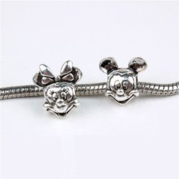 Wholesale European Beads Jewelry - Start 100pcs Mickey Mouse Al-ee Charm Bead 925 Silver Fashion Women Jewelry Stunning Design European Style For Pandox Bracelet PAB01-51
