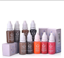 Wholesale Biotouch Pigments - Free Shipping 10 Colors Tattoo Makeup Permanent Tattoo Ink Set 15ml one Bottle BioTouch Pigment for Eyebrow Embroidery Tattoo Makeup Pigment