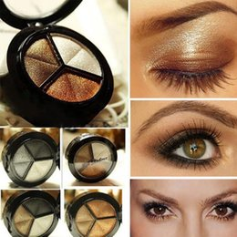 Wholesale Small Beauty Mirror - Wholesale-2016 For Beauty Eyes Eye Shadow 3 color Eye shadow makeup tools with shadow brush & a small mirror in the case