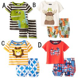Wholesale Boys Dinosaur Set - Baby Cartoon dinosaur deer 2pcs suits sets(top+short) girls boys outfits Baby Clothes Children clothing kids wear