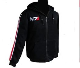 Wholesale Mass Effect Hoodie - 2016 New RPG Game Mass Effect 3 N7 Cotton Cosplay Hoodie Top Coat Cosplay Costume Jacket Men Sportsuit Short Hoody Sweatshirt