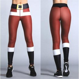 Wholesale Woman Santa Claus - Christmas 3D Printing Leggings Women Santa Claus Pattern Stretchy Sport Trousers Casual Yoga Pencil Pants CCA8370 20pcs