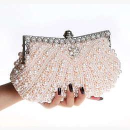 Wholesale Hard Shell Clutch - Stunning Pearls Bridal Hand Bags Luxury Cheap High Quality Wedding Accessories Champagne Black Ivory Evening Party Bag