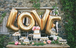 Wholesale Gold Decorative Foil - 2015 Wedding balloons LOVE marry Decorative letters aluminum balloons birthday 40-inch letters foil balloons party decoration balloon