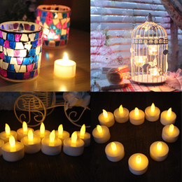 Wholesale Wholesale Flicker Tea Lights Candles - 50pcs lot Electronic LED Candle Flickering Tea Light Xmas Wedding Party Flameless Flickering Tea Light indoor outdoor use