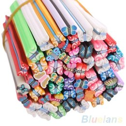 Wholesale Animal Fimo Canes - Wholesale-50x DIY Nail Art Fimo Canes Sticker Decoration Fruit Flower Cute Cartoon Animal 1L2A 4ONG