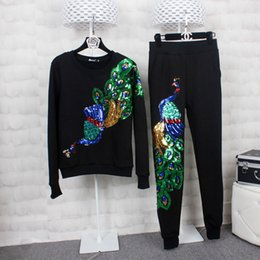 Wholesale New Shirt Style Collection - Two Pieces Set New Collection Women New Style Long Sleeve Velvet Sequined Top T-shirt + Pant Casual Sport Outfits D19
