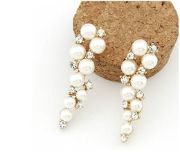 Wholesale Diamond Charms Wholesale - Stud Earrings Brand Bijoux Fashion 18K Gold Charm Crystal Cubic Zircon Diamond Pearl Beads Stud Earrings Women's Jewelry Gift Pearl Earings