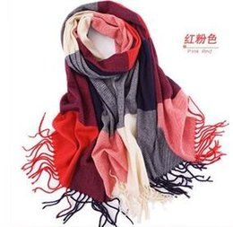 Wholesale Cheap Red Scarves - New Fashion 2018 cheap scarves grid Wool cloth with soft nap Style Thin Section the Silk Floss Women Scarf Shawl WJ29