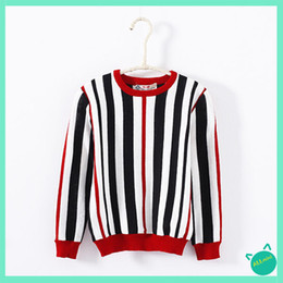 Wholesale Sweater Boys Stripes - Wholesale-ALLMINI 2015New fashion simple style Girl and boy unisex o-neck long sleeve Vertical stripes pullover sweater free shipping